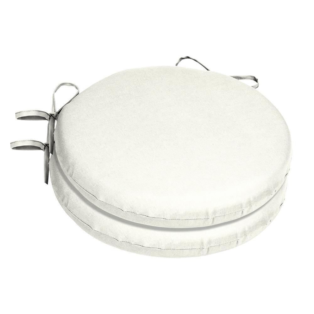 15 x 15 Sunbrella Canvas White Round Outdoor Chair Cushion (2-Pack)