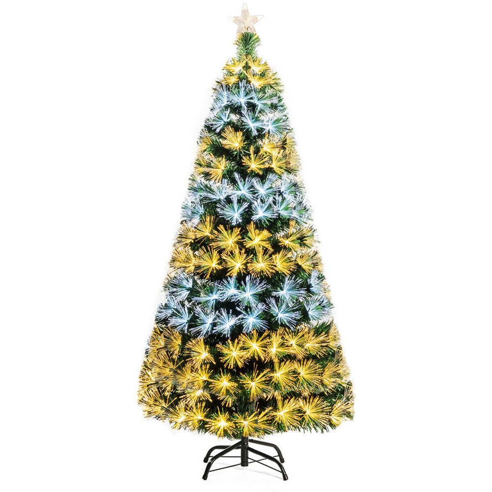 6 ft. Pre-Lit Fiber Optic Christmas Tree 8 Flash Modes PVC with Double-Color Lights
