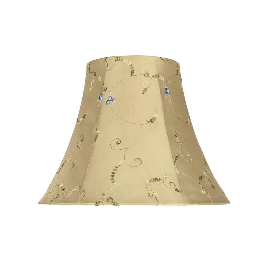 14 in. x 11 in. Gold and Floral Embroidered Design Bell