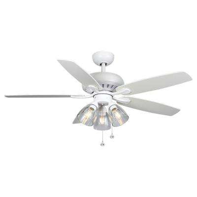 Rockport 52 in. LED Matte White LED Ceiling Fan with Light kit