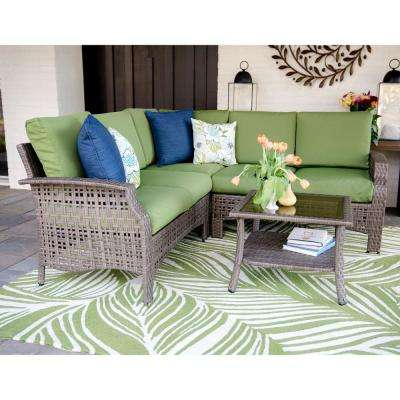 Concord 4-Piece Wicker Outdoor Sectional Set with Green Cushions
