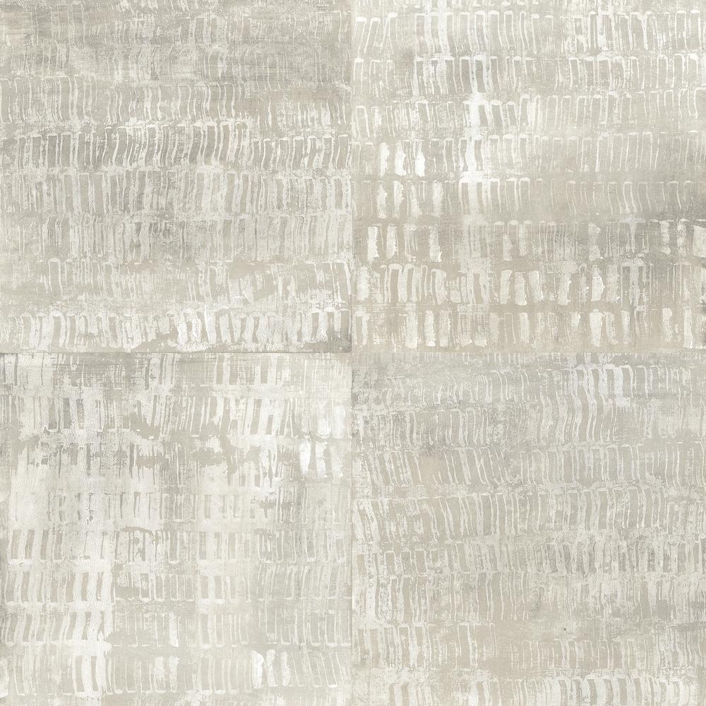 Conundrum Silver Faux Metal Silver Wallpaper Sample