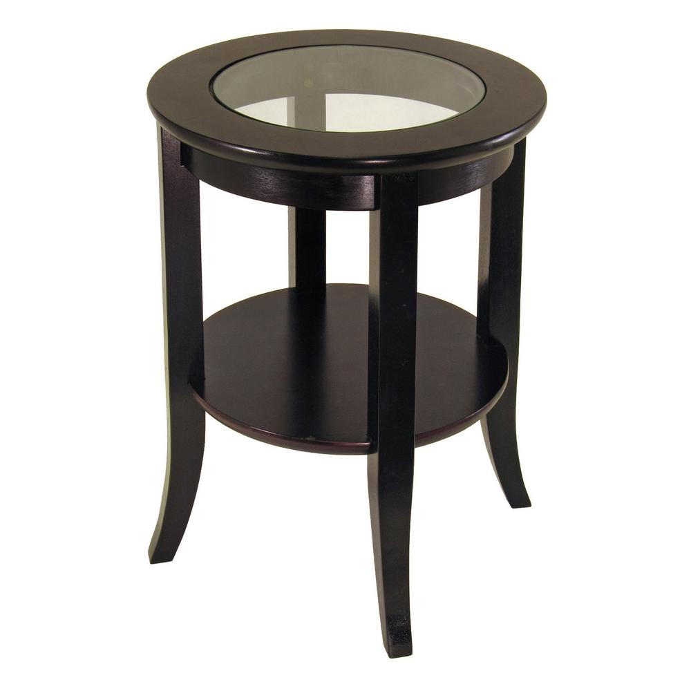 Exceptionnel Winsome Wood Genoa Espresso Glass Top End Table