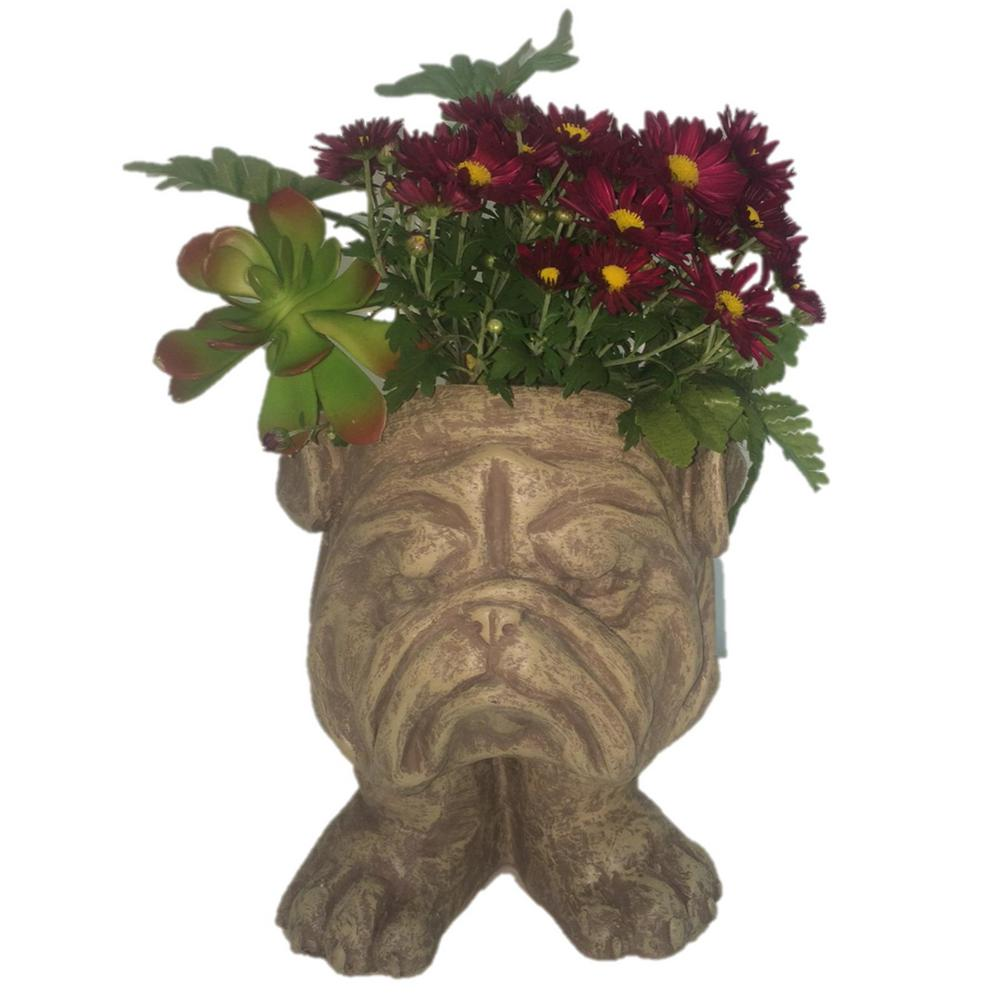 HOMESTYLES 13 in. Stone Wash Bulldog Muggly Planter Statue Holds 4 in. Pot