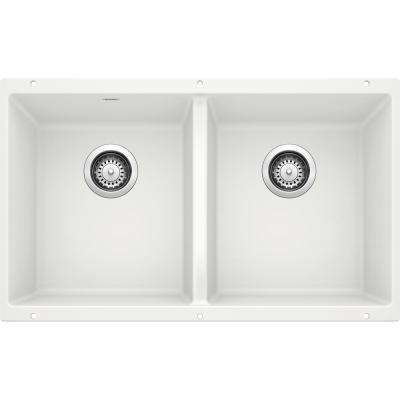 PRECIS Undermount Granite Composite 29.75 in. 50/50 Double Bowl Kitchen Sink in White