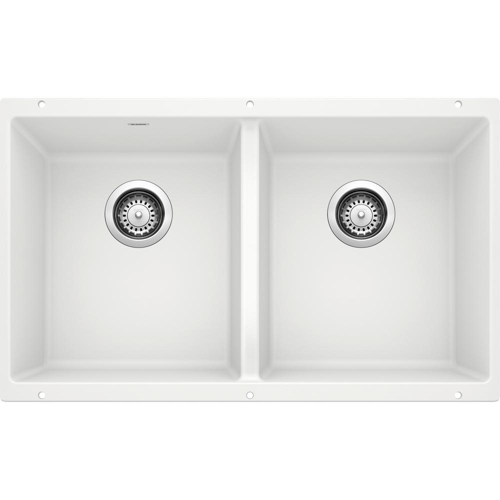 PRECIS Undermount Granite Composite 29.75 in. 50/50 Double Bowl Kitchen Sink in White