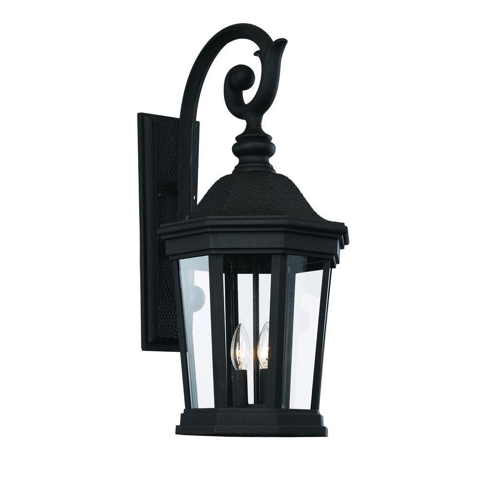 bel air lighting 3 light black outdoor chateau villa wall lantern 40402 bk the home depot. Black Bedroom Furniture Sets. Home Design Ideas