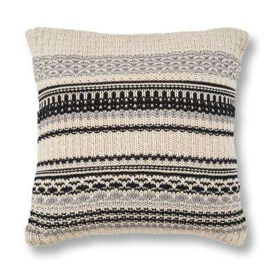 Ivory/Black Sweater 20 in. x 20 in. Decorative Pillow