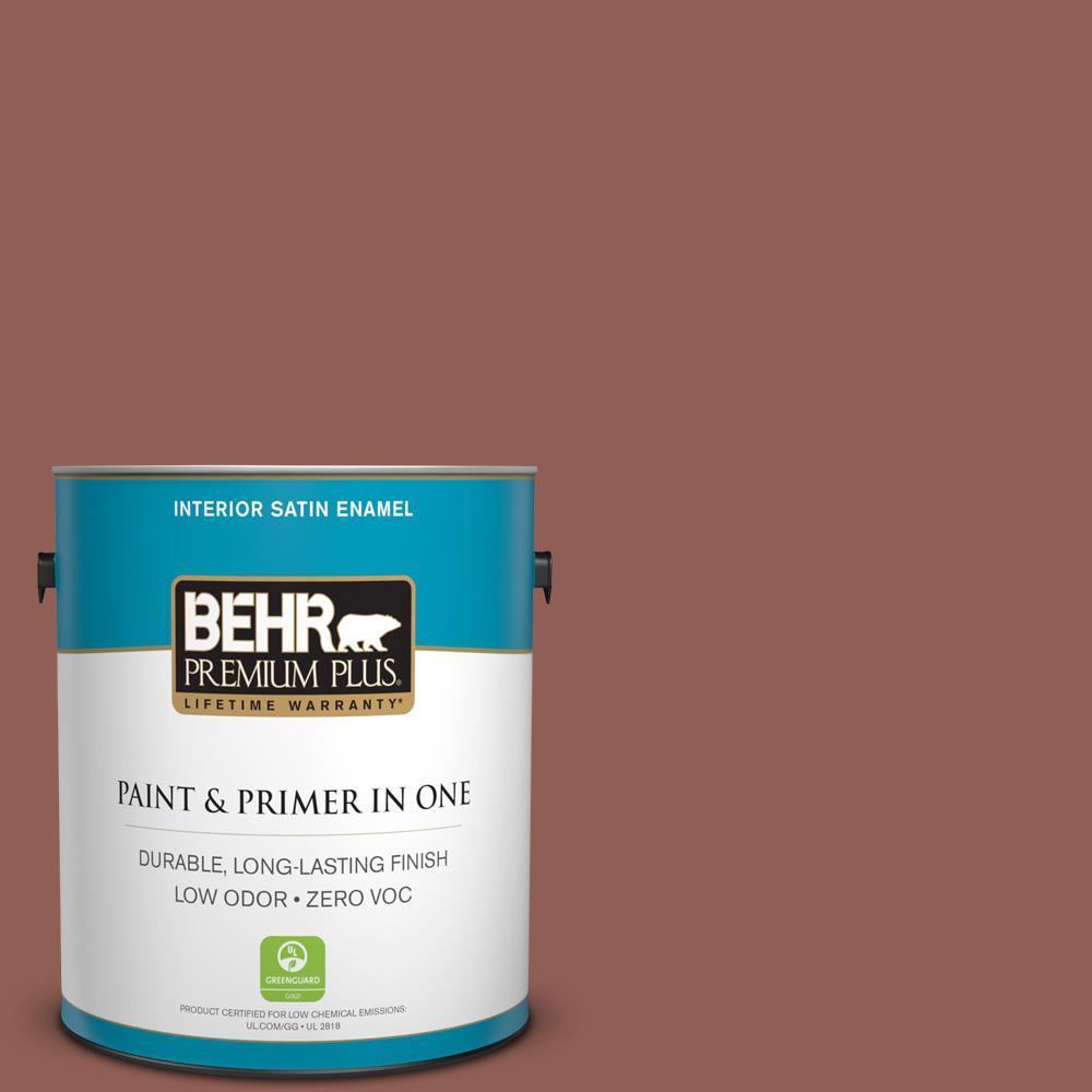 BEHR Premium Plus 1-gal. #BXC-57 Raw Sienna Satin Enamel Interior Paint