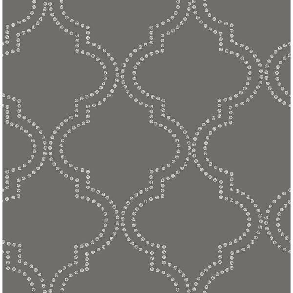Tetra Charcoal Quatrefoil Paper Strippable Roll (Covers 56.4 sq. ft.)