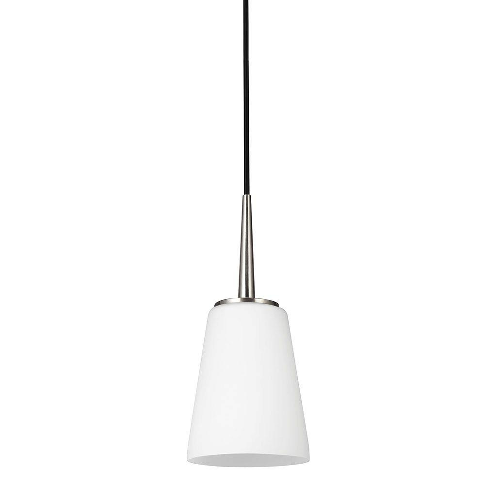 Sea Gull Lighting Driscoll 1 Light Brushed Nickel Mini Pendant With Inside  White Painted Etched Glass 6140401 962   The Home Depot