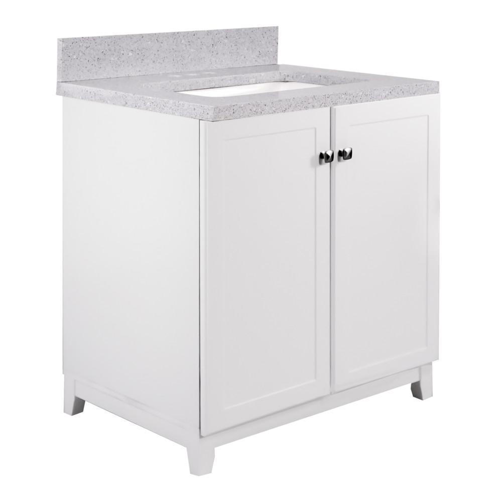 30 in. x 21 in. x 33 in. 2-Door Bath Vanity in White with 4 in. Centerset Flist Quartz Vanity Top with Basin in White