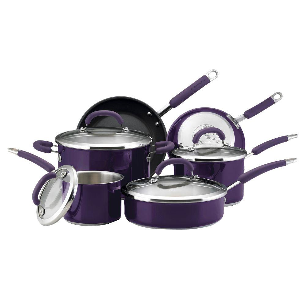 Rachael Ray 10-Piece Eggplant Cookware Set with Lids