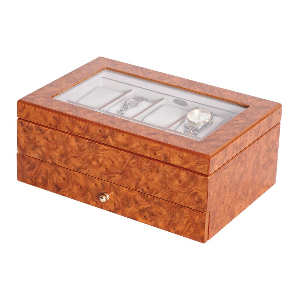 Mele Peyton BurlWood Oak Finish Wooden Watch Box0068111 The Home