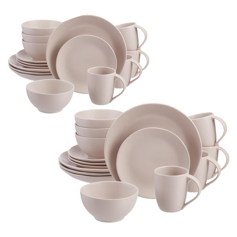 Brea 32-Piece Ballet Beige Stoneware Dinnerware Set (Service for 8)