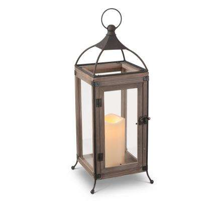 18 in. H Brown Wood and Metal Lantern