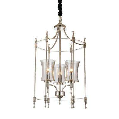London 3-Light Satin Nickel Chandelier with Clear shade