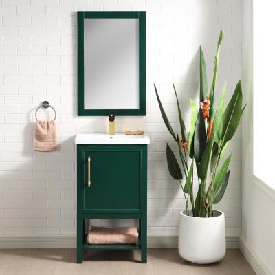 Taylor 20 in. W x 15 in. D x 34 in. H Bath Vanity in Forest Green with Ceramic Vanity Top in White with White Basin