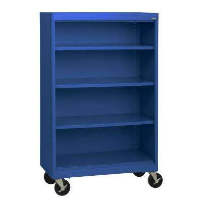 Radius Edge Blue Mobile Steel Bookcase