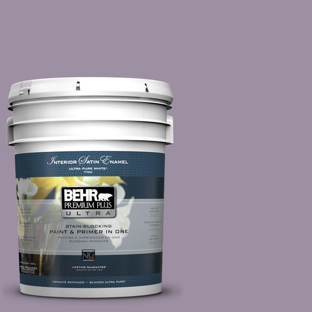 BEHR Premium Plus Ultra 5-gal. #660F-5 Amethyst Phlox Satin Enamel Interior Paint