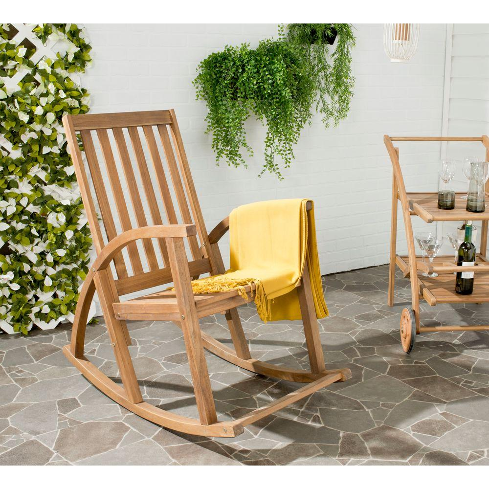 Safavieh Clayton Teak Wood Outdoor Rocking Chair