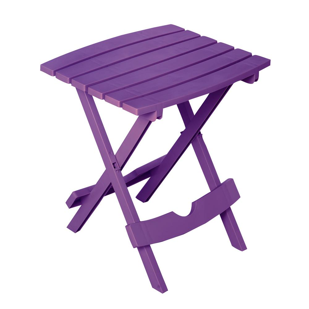 Quik-Fold Bright Violet Resin Plastic Outdoor Side Table