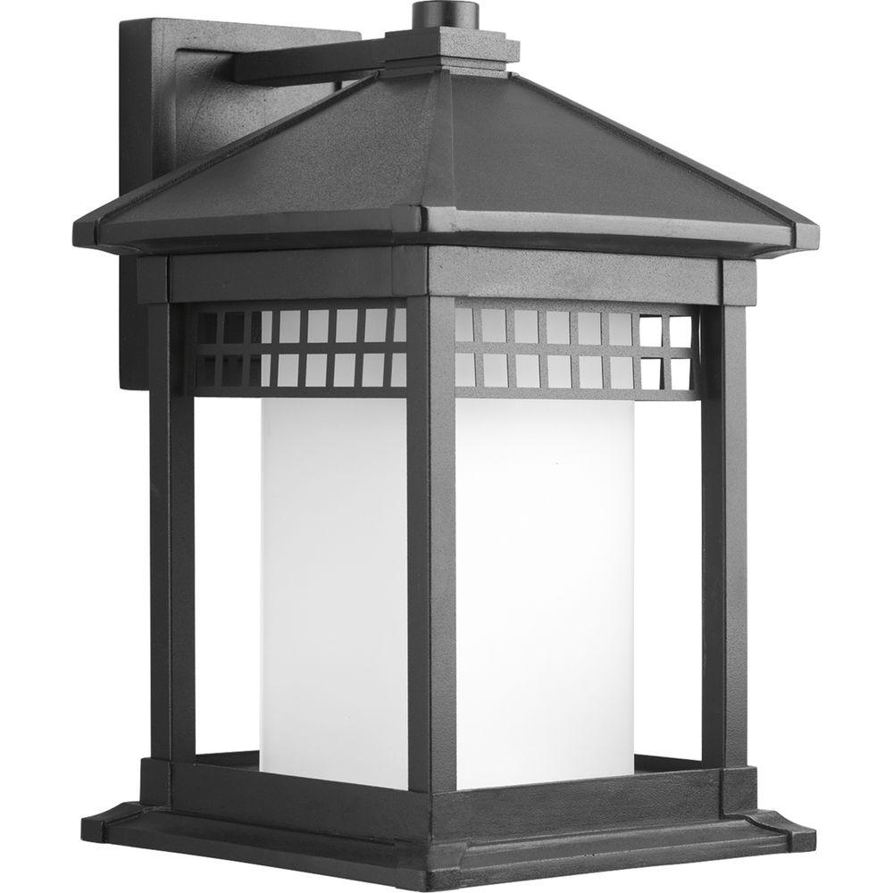 Progress Lighting Merit Collection Black 1-Light 15.75 in. Outdoor Wall Lantern Sconce