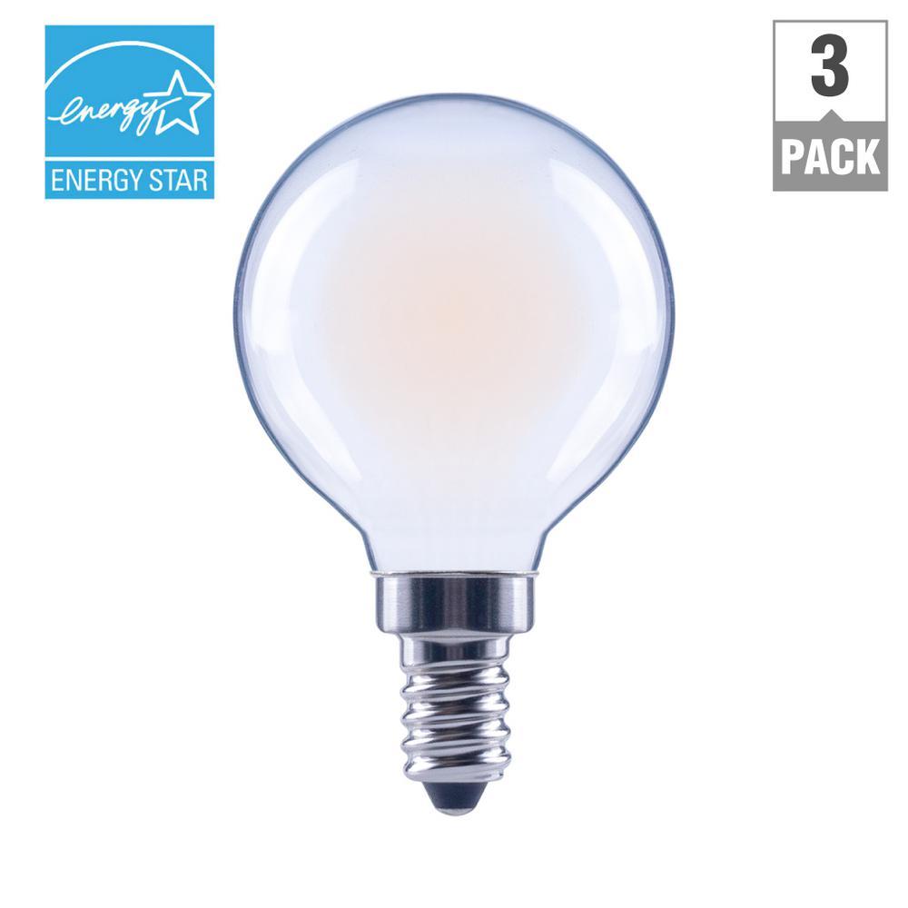 60-Watt Equivalent G16.5 E12 Base Dimmable Frosted Filament LED Light Bulb, Soft White (3-Pack)