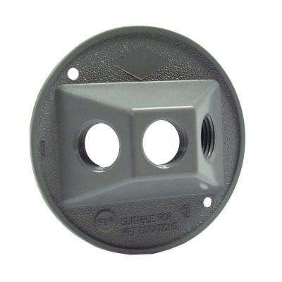 4 in. Round Weatherproof Cluster Cover with three 1/2 in. Outlets