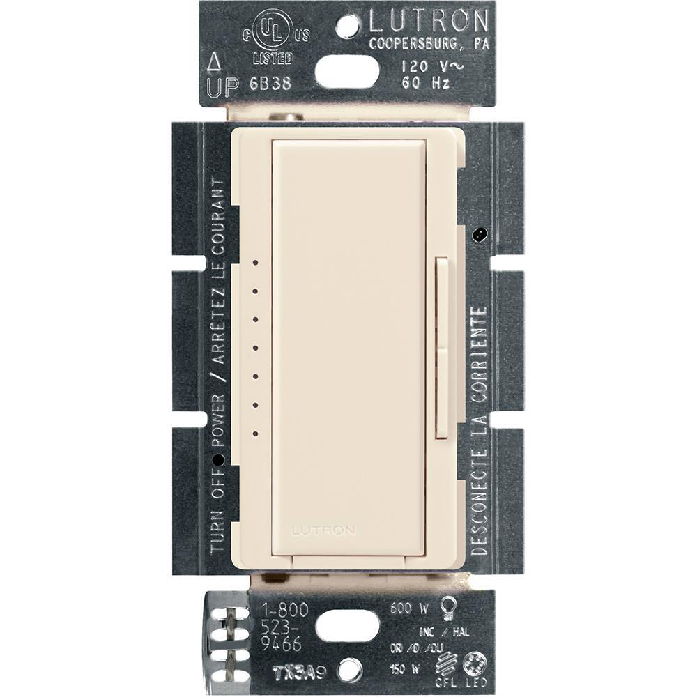 Lutron Maestro LED+ Dimmer Switch for Dimmable LED, Halogen and Incandescent Bulbs, Single-Pole or Multi-Location, Light Almond