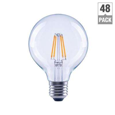 40-Watt Equivalent G25 Dimmable Energy Star Clear Filament Vintage Style LED Light Bulb Daylight (48-Pack)