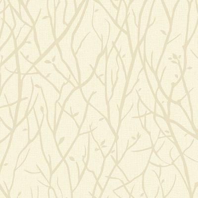 8 in. x 10 in. Kaden Champagne Branches Wallpaper Sample