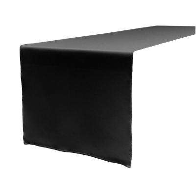 14 in. x 108 in. Black Polyester Poplin Table Runner