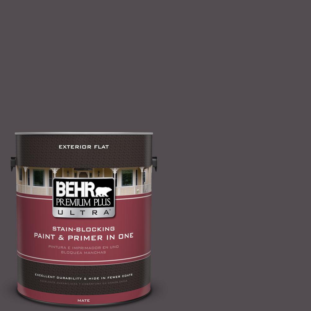 BEHR Premium Plus Ultra 1-gal. #N570-7 Black Elegance Flat Exterior Paint