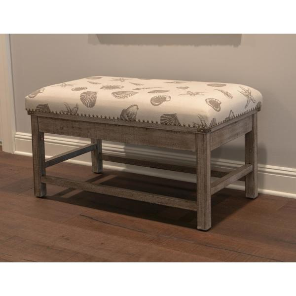 Decor Therapy Farley Gray Upholstered Bench FR8701