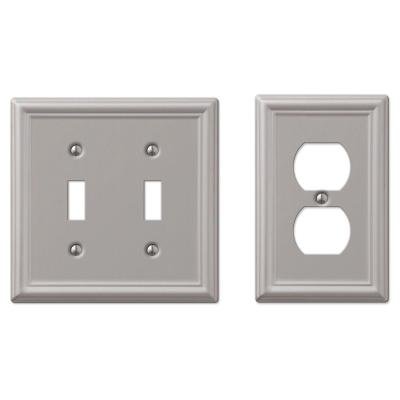 Ascher 2 Gang Toggle and 1 Gang Duplex Steel Wall Plate Combo Pack - Brushed Nickel
