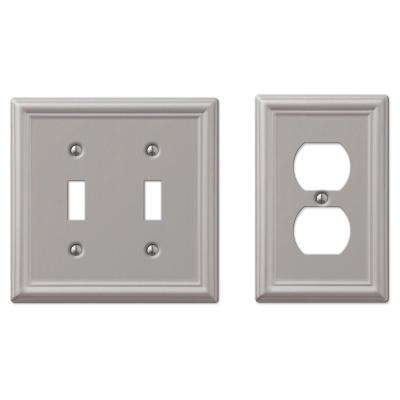 Ascher 2-Toggle Wall Plate and Ascher 1-Duplex Outlet Plate, Brushed Nickel Steel