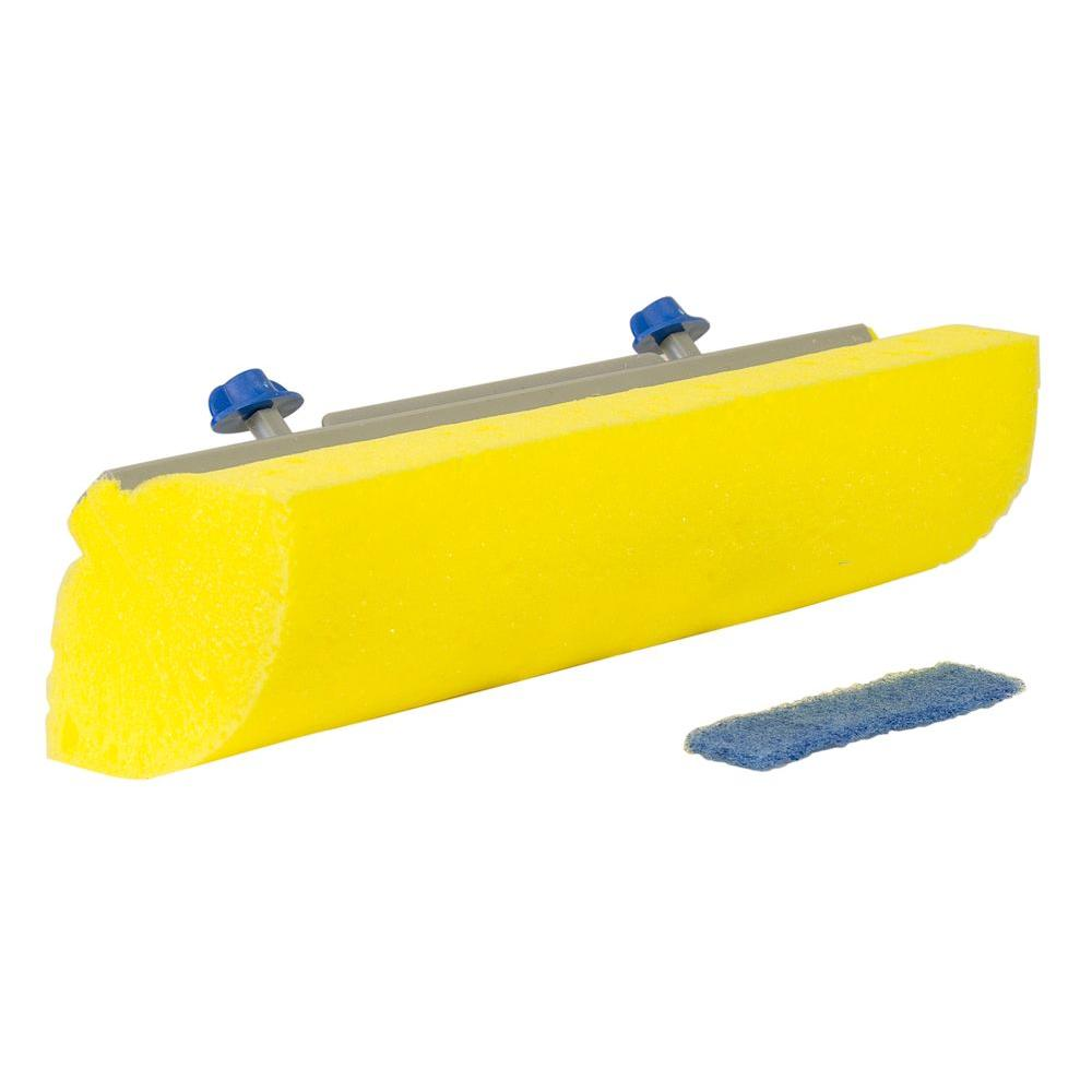 Quickie Quickie Jumbo Sponge Mop and Scrub Roller Mop Head Refill with Microban, Yellow