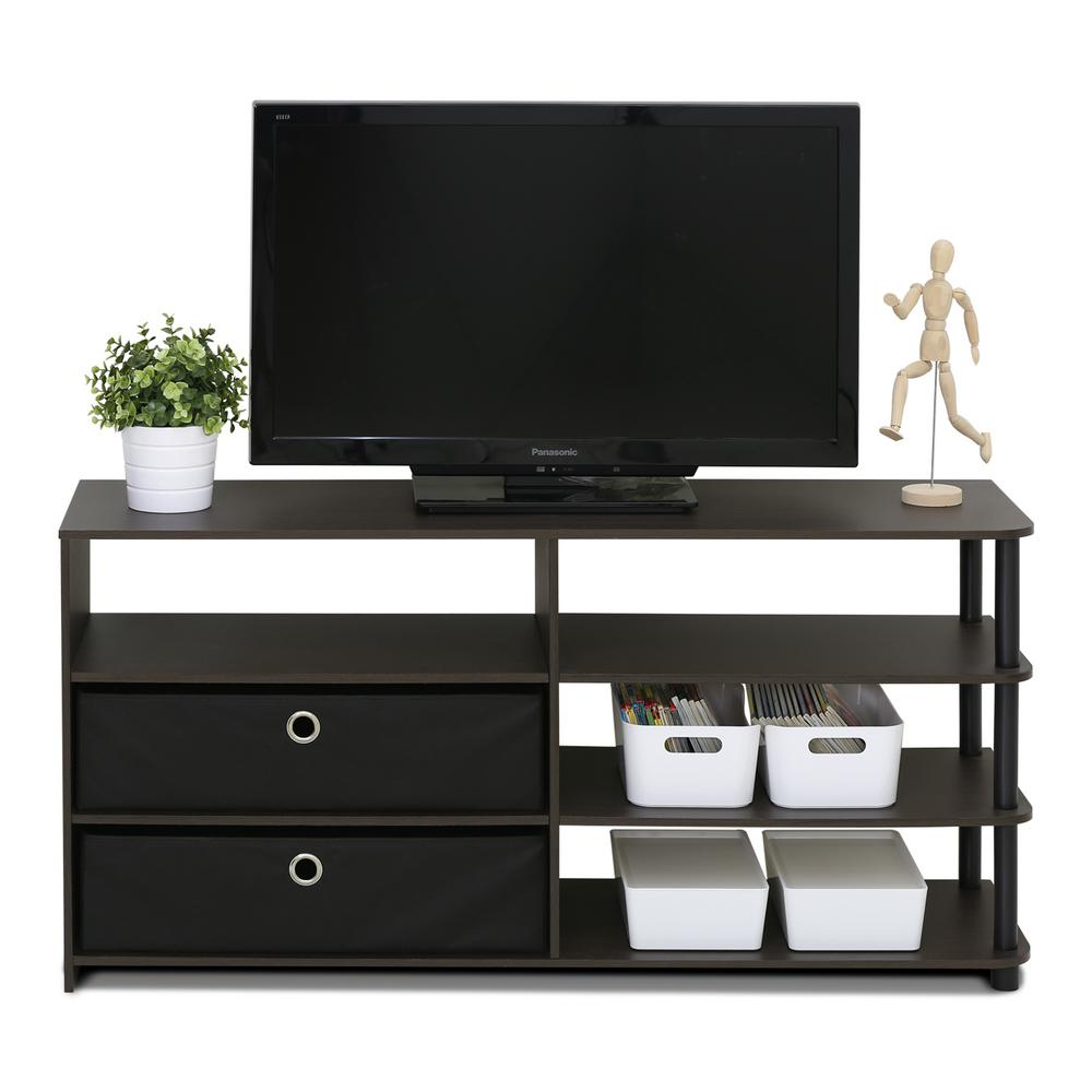 Furinno Jaya Walnut Simple Design Tv Stand 15078wnbk The Home Depot