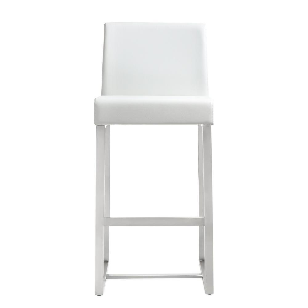 Denmark white steel counter stool set of 2
