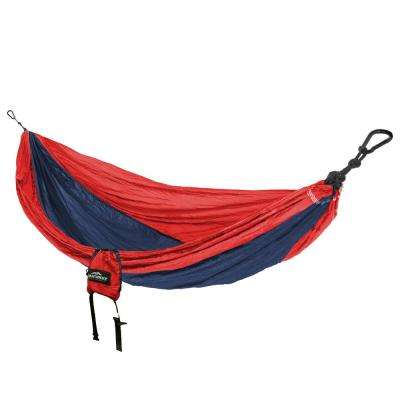 9 ft. Nylon Parachute Bag Hammock in Red and Navy