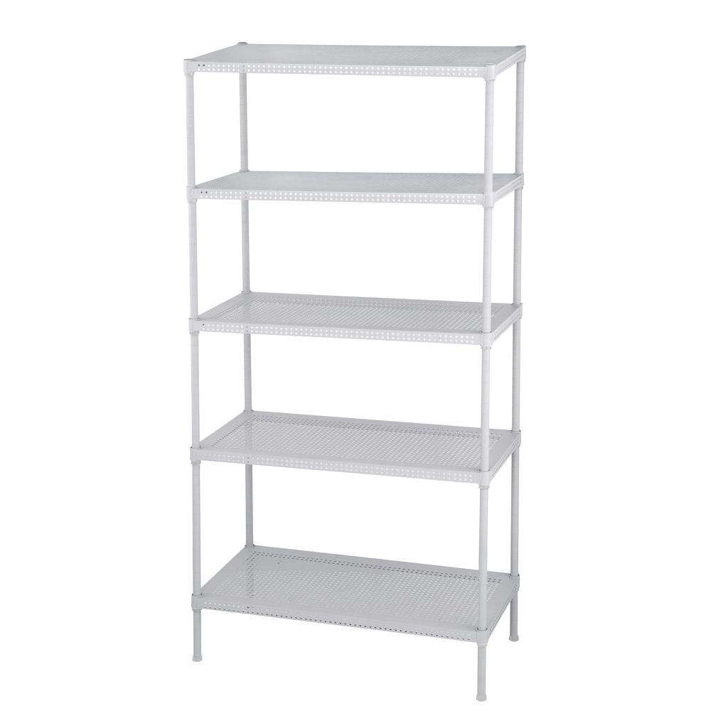 Edsal Perforated 71 in. H x 35.5 in. W x 18 in. D 5-Tier Steel Shelving in White