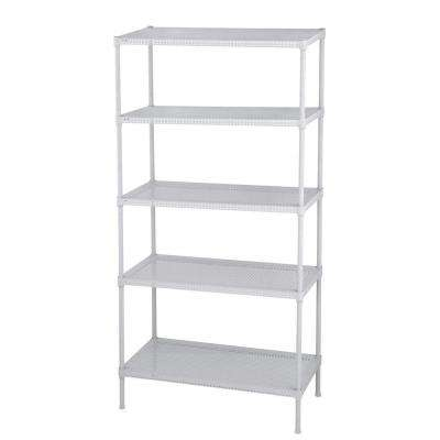 Perforated 71 in. H x 35.5 in. W x 18 in. D 5-Tier Steel Shelving in White