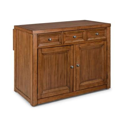 Sedona Toffee Brown Wood Top Kitchen Island with Two 24 in. Stools