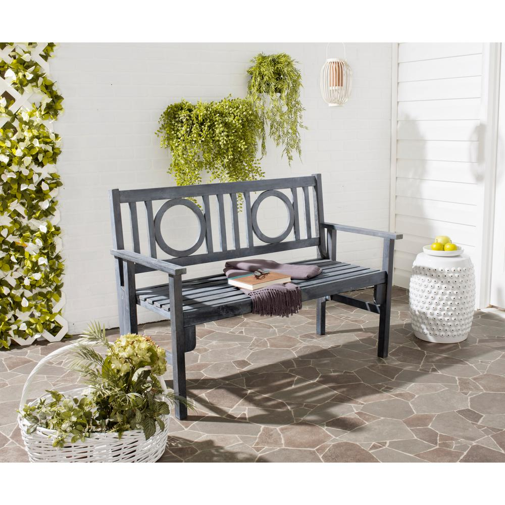Safavieh Piedmont 2-Person Ash Grey Wood Outdoor Bench