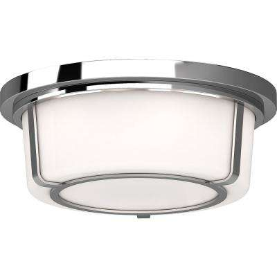 12.75 in. W x 5 in. H 2-Light Indoor Chrome Flush Mount Ceiling Light Fixture with White Round/Cylinder Glass Shade