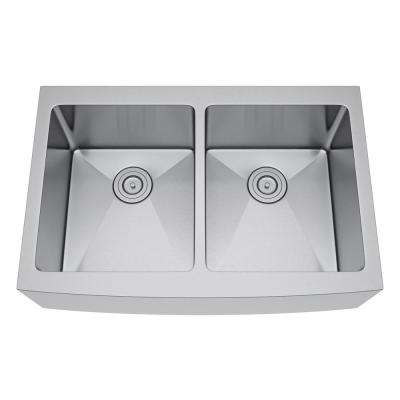 All-in-One Farmhouse Stainless Steel 33 in. 50/50 Double Bowl Kitchen Sink