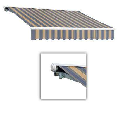 10 ft. Galveston Semi-Cassette Right Motor with Remote Retractable Awning (96 in. Projection) in Dusty Blue/Tan Multi