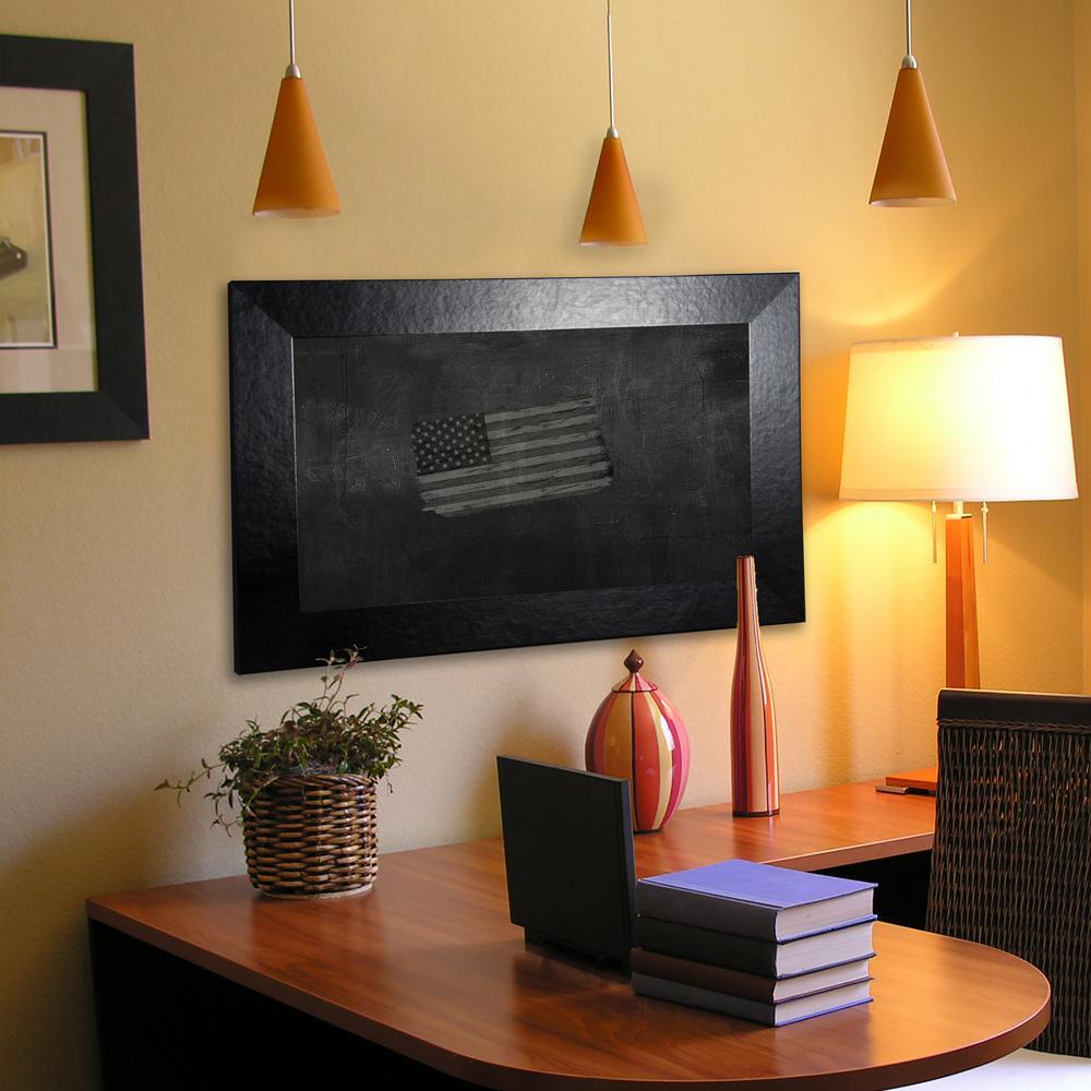 42 in. x 42 in. Black Wide Leather Blackboard/Chalkboard