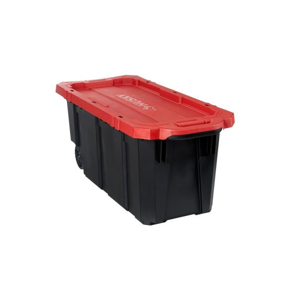 45 Gal. Black and Red Latch and Stack Tote with Wheels